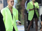 One of the most successful way to wear neon this spring by Hailey Bieber